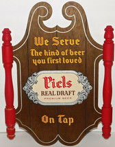 PIELS REAL DRAFT ON TAP BEER SIGN WOOD DISPLAY VINTAGE WOODEN SIGN - $32.36