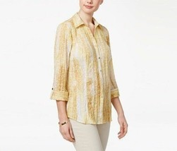 Jm Collection Yellow Cuffed Ties Burnout Crinkled Cotton Blouse Womens Xl $49 - $15.83
