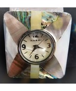 Narmi watch Silver With Abalone Mother Of Pearl Bracket Cuff Unique Women - $21.78