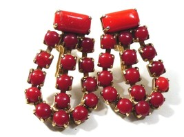 VTG Gold Tone Red Glass Rhinestone Dangling  screw clip on Earrings - $24.75