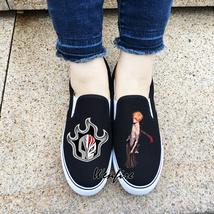 Wenfire Canvas Shoes Anime Slip On Design Bleach Black Sneakers Skateboa... - $45.00