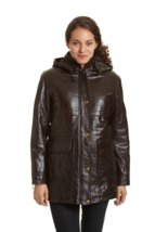 Excelled Women's Lambskin Leather Parka with Zip Out Liner Brown 1X #NK8Q2-M818 - $227.99
