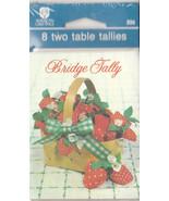 Vintage Bridge Tallies Strawberries in Basket Sealed Package Two Table T... - $4.94