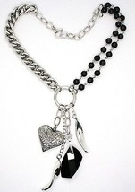 Necklace Silver 925, Double Row Onyx, Chain Curb , Heart Milled image 2