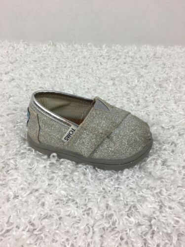 Primary image for Toms Girls Shoes 4 Toddler T4 Silver Glitter Shimmer Canvas