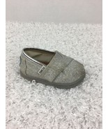 Toms Girls Shoes 4 Toddler T4 Silver Glitter Shimmer Canvas  - $12.86