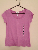 Alfani Short Sleeve Slightly Sheer Pajama Top F25498 Small Medium Blue Purple - $8.00