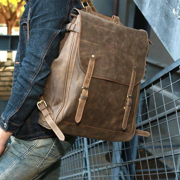Sale, Handmade Men Backpack, Horse Leather Travel Backpack, Vintage Laptop Backp