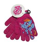 My Little Pony Rainbow Dash Pink Silver Sparkle Girls Knit Winter Gloves - $12.86