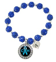 Custom Congenital Diaphragmatic Hernia Awareness Blue Bling Bracelet Jewelry - $14.84+