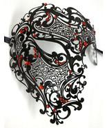 Black Red Phantom Laser Cut Venetian Mask Masquerade Metal Men Skull Fil... - $24.69