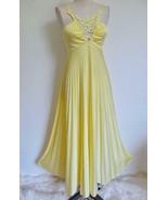 Vintage 70s Jersey Knit Maxi Dress S XS Crystal Pleats Crochet Lace Yell... - $89.99