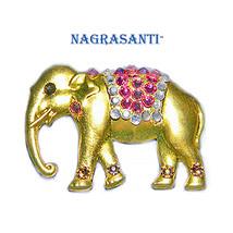 Nagrasanti GT Elephant/Crystal Pink Blanket Brooch - $29.00