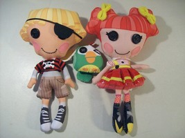 Lot Of 2 Lalaloopsy Plush Dolls Ember Flicker Flame Patch Treasure Chest Parrot - $15.63