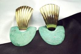 Antiqued SEA GREEN DOOR KNOCKER Pierced Earrings Gold Plated Vintage Career - $17.81