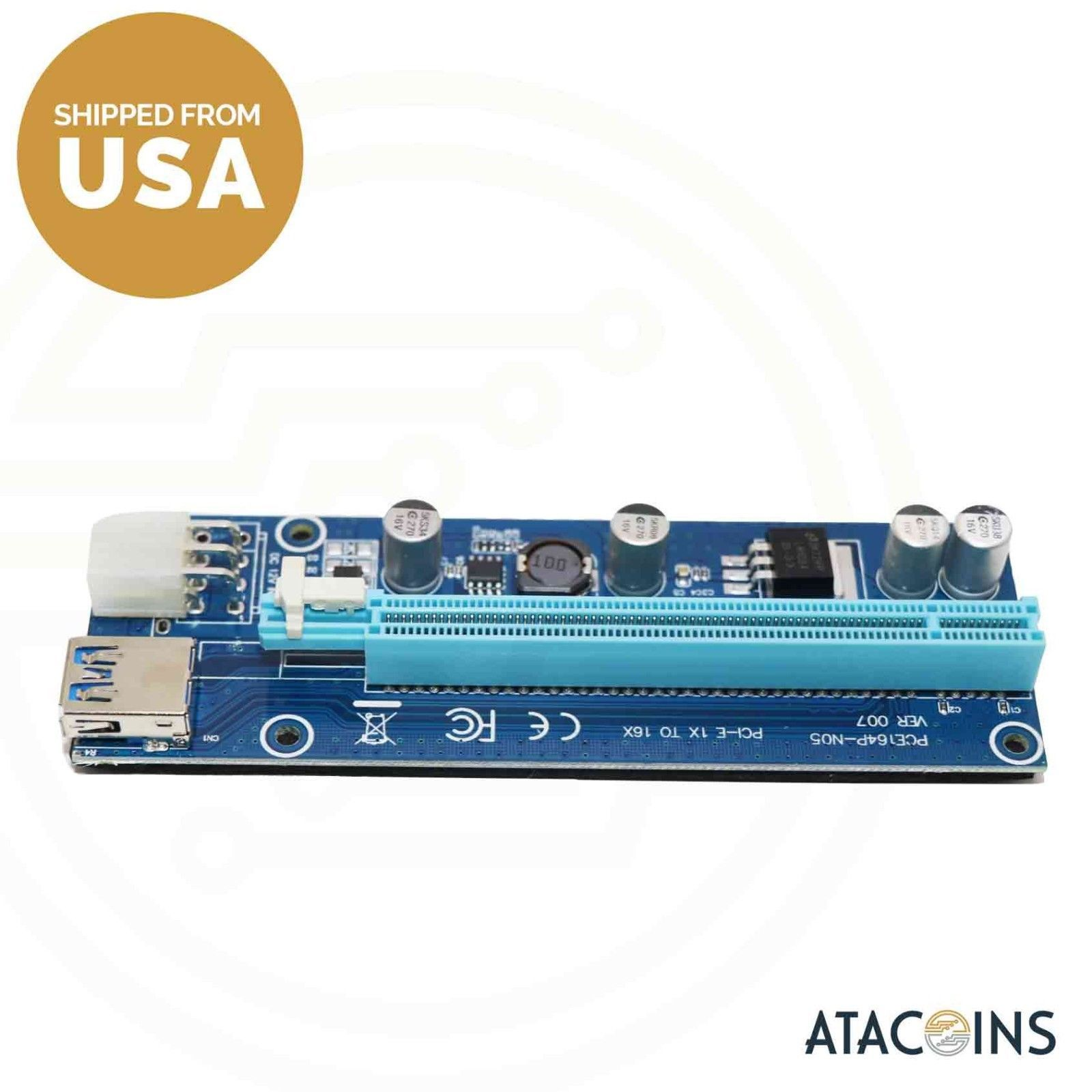 USB3.0 PCI-E Express 1x 16x Extender Riser Card Adapter Cable For Mining