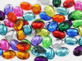 25x18mm Flat Back Oval Acrylic Jewels Rhinestones Costume Gems Cosplay E... - $9.89