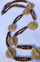 Bamboo Necklace; Indian Jewelry, Handmade, Unique Design, Tribal Wooden,... - $10.55
