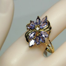 Vintage 1990s QVC Marquise Tanzanite Diamond 14KT 14K Yellow Gold Size 9... - $148.50