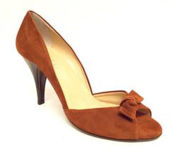 ANNE KLEIN Size 8 1/2 Cognac Suede Peep Toe Heels Pumps Shoes 8.5 - $35.10