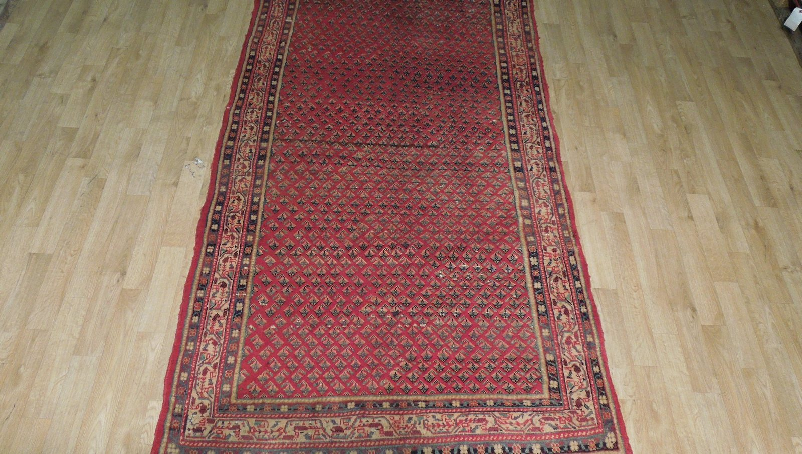 Mir Persian Wool Hand-Knotted Rug 4 x 9 Estate All-Over Flames Design Red Rug image 9