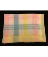 Beacon Baby Blanket Yellow Satin Trim Waffle Weave Plaid Pastel Wool/Cot... - $59.39
