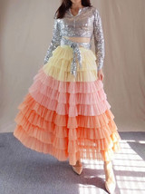 Yellow Pink Layered Tulle Skirt Tiered Tulle Party Outfit Plus Size Party Skirt  image 1