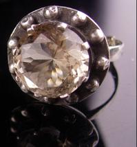 HUGE Topaz Ring / steampunk porthole - sterling ring  size 8 1/2 9  / Vi... - $225.00