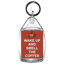 keyring double sided wake up and smell the coffee fun, novelty, keychain key rin