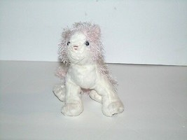 "Webkinz Pink and White Cat Kitten Shaggy Plush Bean Bag 8"" Preowned No Code - $4.89"