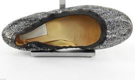 LANVIN Ballet Flat Ballerina Shoe Black Silver Glitter Leather Sz 39 - $137.75