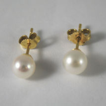 SOLID 18K YELLOW GOLD EARRINGS WITH FRESHWATER WHITE PEARLS MADE IN ITALY. image 3