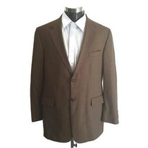 Stafford Mens Suit Jacket Brown Buttons Notch Lapel Pockets Lined 100% W... - $53.45