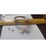 """Gold and Silver Tone Bracelet Cuff Bangle Matching 0.5"""" Square Post Earr... - $11.13"""