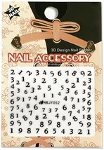 Nail Art 3D Decal Stickers Black Numbers HBJY052 - $3.29