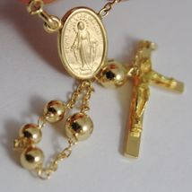 18K YELLOW GOLD BIG ROSARY NECKLACE MIRACULOUS MARY MEDAL JESUS CROSS ITALY MADE image 5