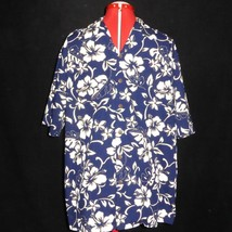 XL Hilo Hattie Hawaiian Original Short Sleeve Mens Shirt Navy Blue Hibis... - $24.70