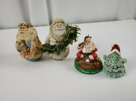 Christmas Figures Custom 3 Santas and a Christmas Tree 2in - $17.42