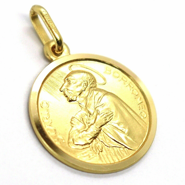 SOLID 18K YELLOW GOLD MEDAL, SAINT CARLO CHARLES BORROMEO, 17 mm DIAMETER