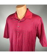 Bobby Jones Golf Polo L Shirt Mens Red Blue Stripes Size Large Short Sleeve - $20.42