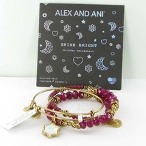 Alex and Ani Set Of 3 Crystal Snowflake Bracelet A17SETSF03RG Gold Burgundy NWT - $48.50