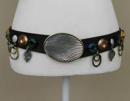 CHICOS Size S / M Black Leather Adjustable Belt Metal Wood Bead Embellis... - $29.57