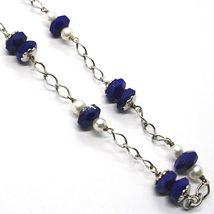 Collar Plata 925 , Azul Lapislázuli Disco Facetado, Perlas, 45 CM image 3