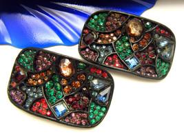 MUSI Vintage Shoe Clips Gorgeous Multi Color Rhinestones Black Enamel - $54.62