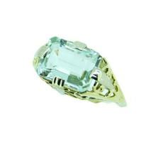 Art Deco 14k Yellow Gold Filigree 2.72ct Genuine Natural Aquamarine Ring... - $550.00