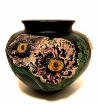 Tiffin Black Satin Glass Poppies Vase Peacock Products McCourt Studios 5... - $177.20