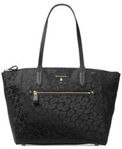 NWT MICHAEL KORS KELSEY TOP ZIP LARGE LEOPARD PRINT NYLON TOTE BLACK - $125.77