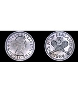 1964 New Zealand 3 Pence World Coin - Elizabeth II - $5.75