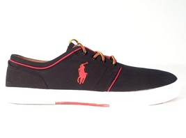 Polo Ralph Lauren Black Faxon Low Casual Shoes Sneakers Blue Polo Pony M... - $44.99
