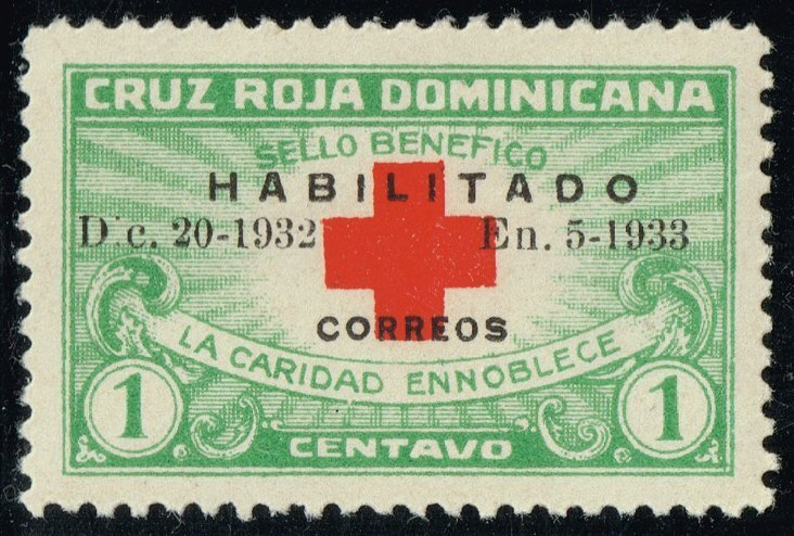 1932 Red Cross Dominican Republic Postage Stamp Catalog Number 265B MNH